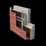 Betoni sisäkuori + Kingspan eriste 150 mm + BRIX